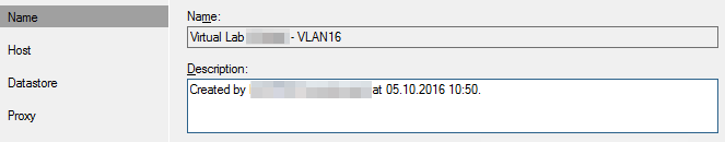 Veeam Sure Backup - VLAB Name