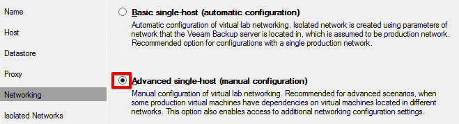 Veeam Sure Backup - VLAB Networking