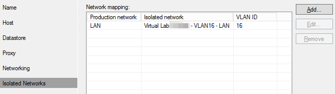 Veeam Sure Backup - VLAB Isolated Network